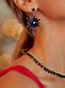 Naszyjnik złoty z czarnymi kryształkami  NRG0175