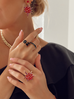 Pierścionek złoty z czarnymi kryształami PRG0168 rozmiar 17