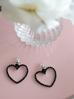Kolczyki srebrne serca z czarnymi  kryształkami KRG0549