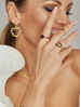 Pierścionek złoty z czarnymi cyrkoniami PRG0155