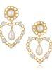Kolczyki złote serca z perłami KPE0045