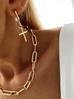 Kolczyki złote krzyżyki z perełkami KRG0521