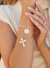 Bransoletka złota z krzyżem i monetą BRG0198