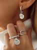 Kolczyki ze srebrnymi monetkami i kryształkami KRG0544