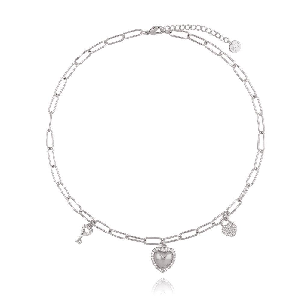 Naszyjnik srebrny łańcuch z serduszkiem NRG0239