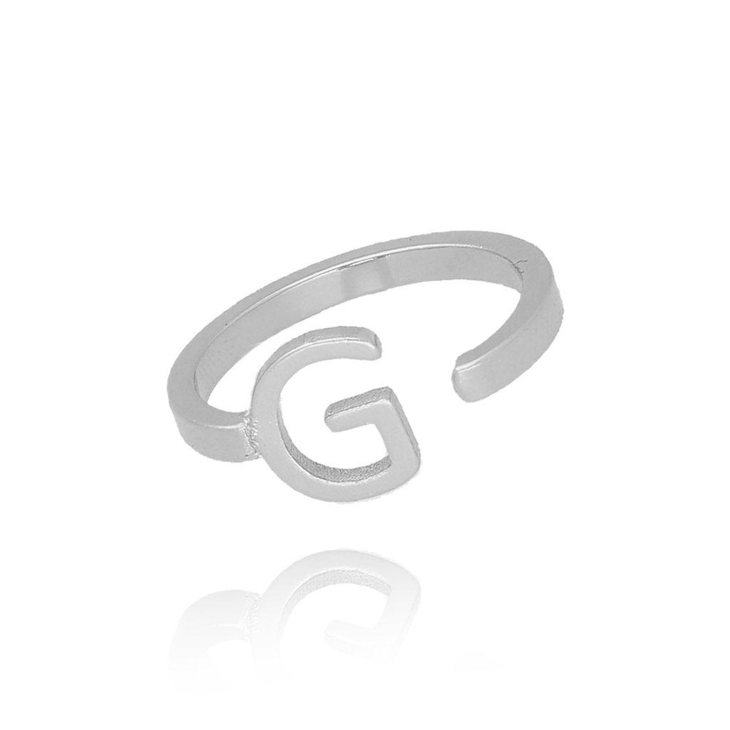 Pierścionek srebrny literka G PAT0025