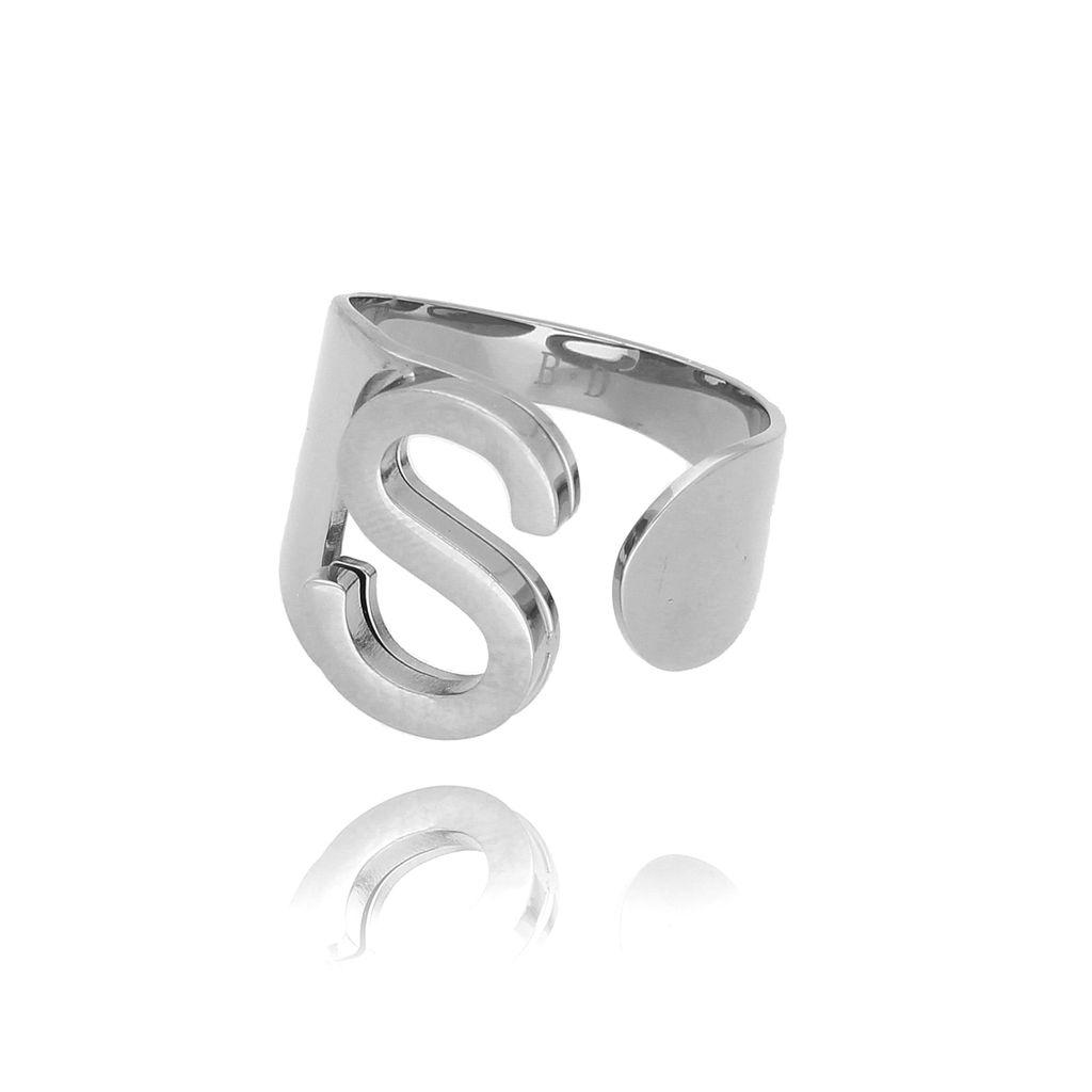 Pierścionek srebrny ze stali szlachetnej z literką S PSA0076