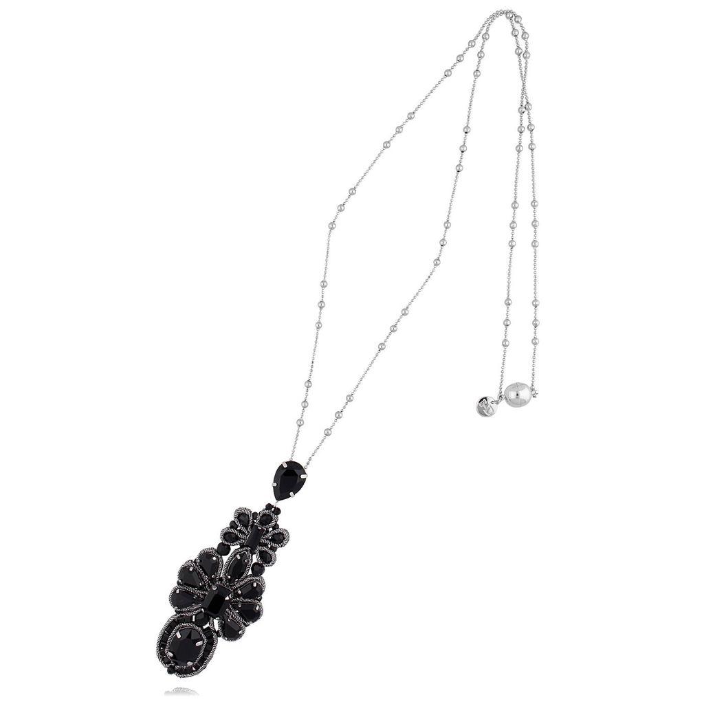 Naszyjnik srebrny z czarnymi kryształkami NMS0574