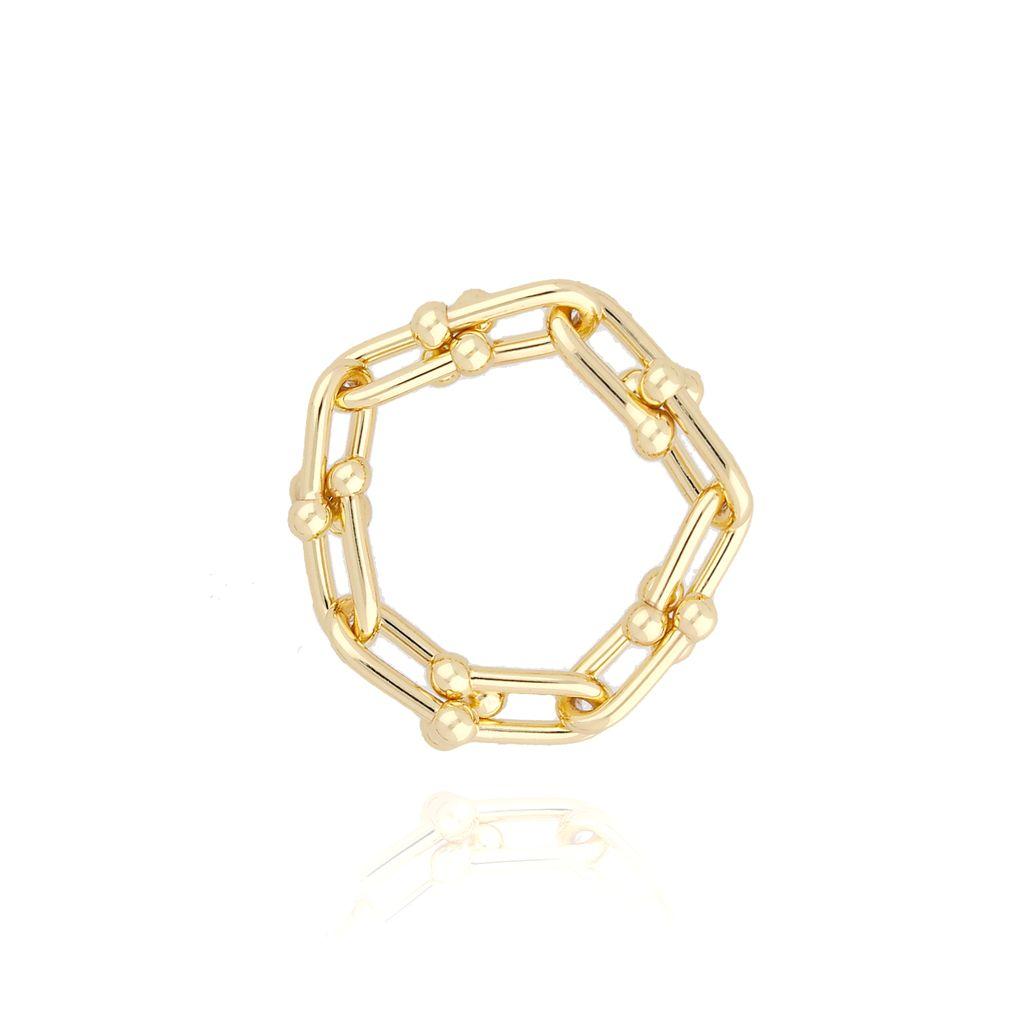 Pierścionek złoty z łańcuchem PRG0064 rozmiar 16