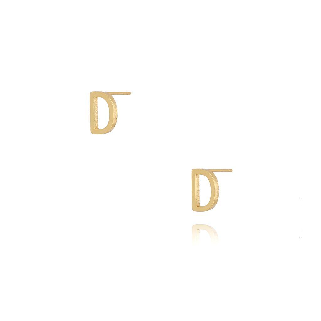 Kolczyki wkrętki z literką D złote KAT0003