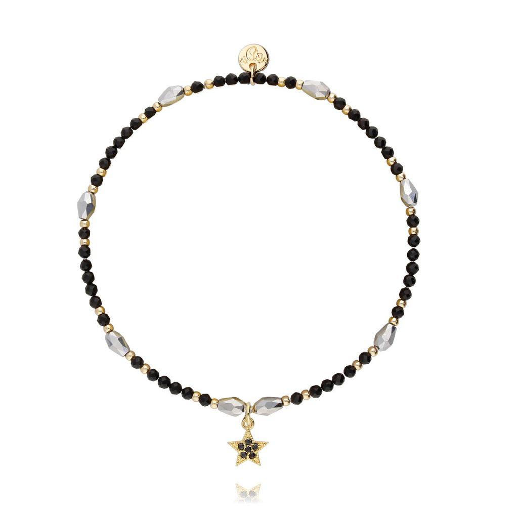 Bransoletka ze szklanych kryształków i czarnego onyksu z gwiazdką BSC0763