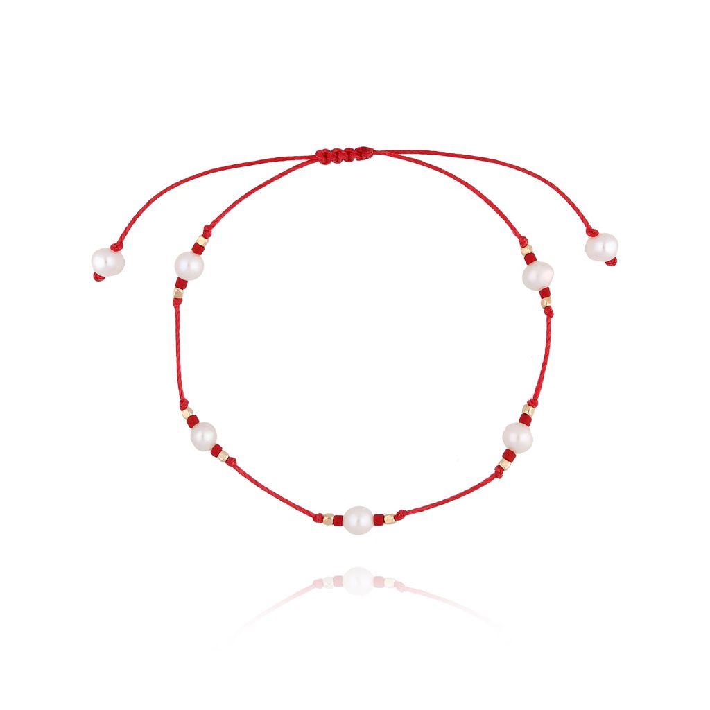 Bransoletka  czerwona z perłami i sznurkiem BTW0260