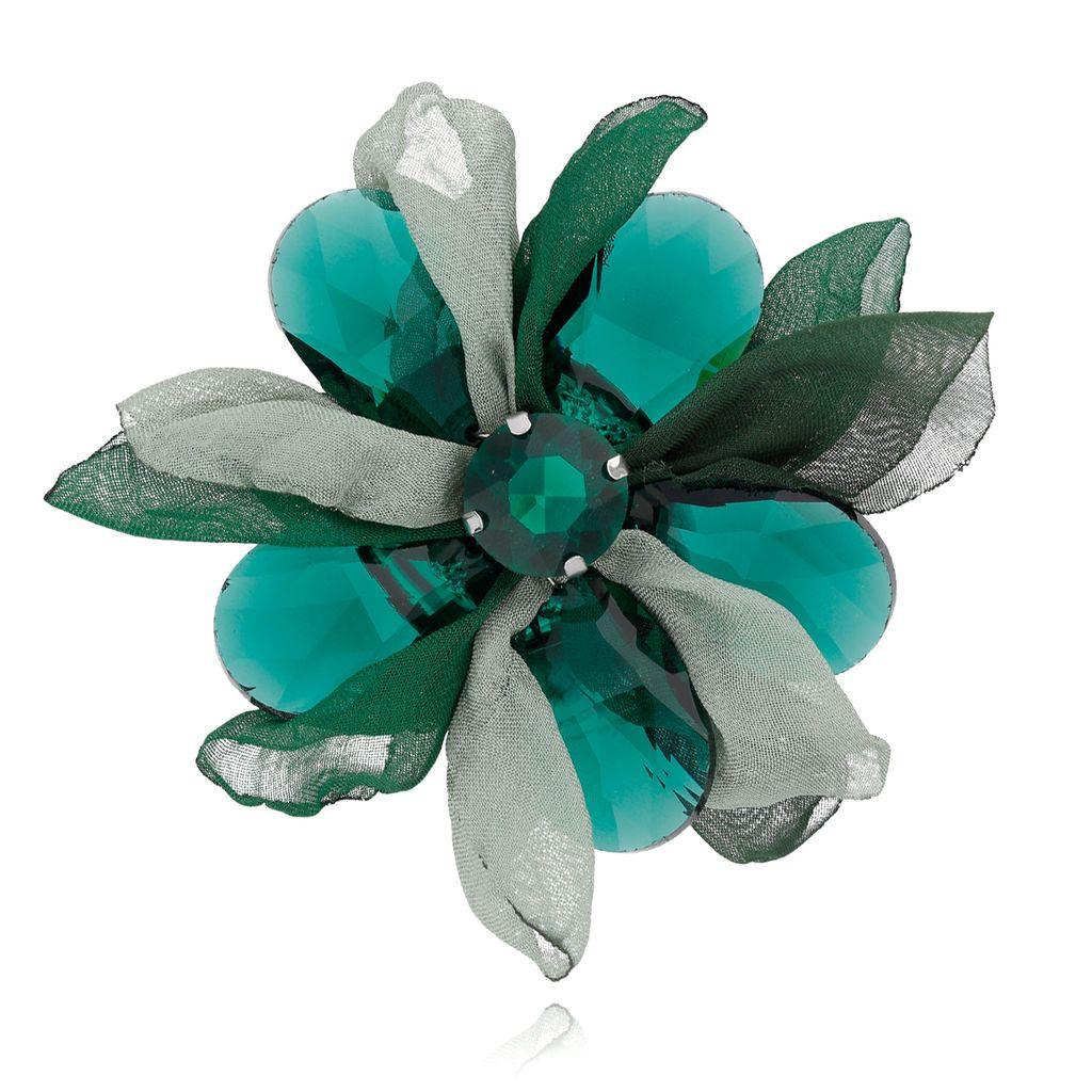 Broszka kwiat z kryształami  zielona BRBL0013