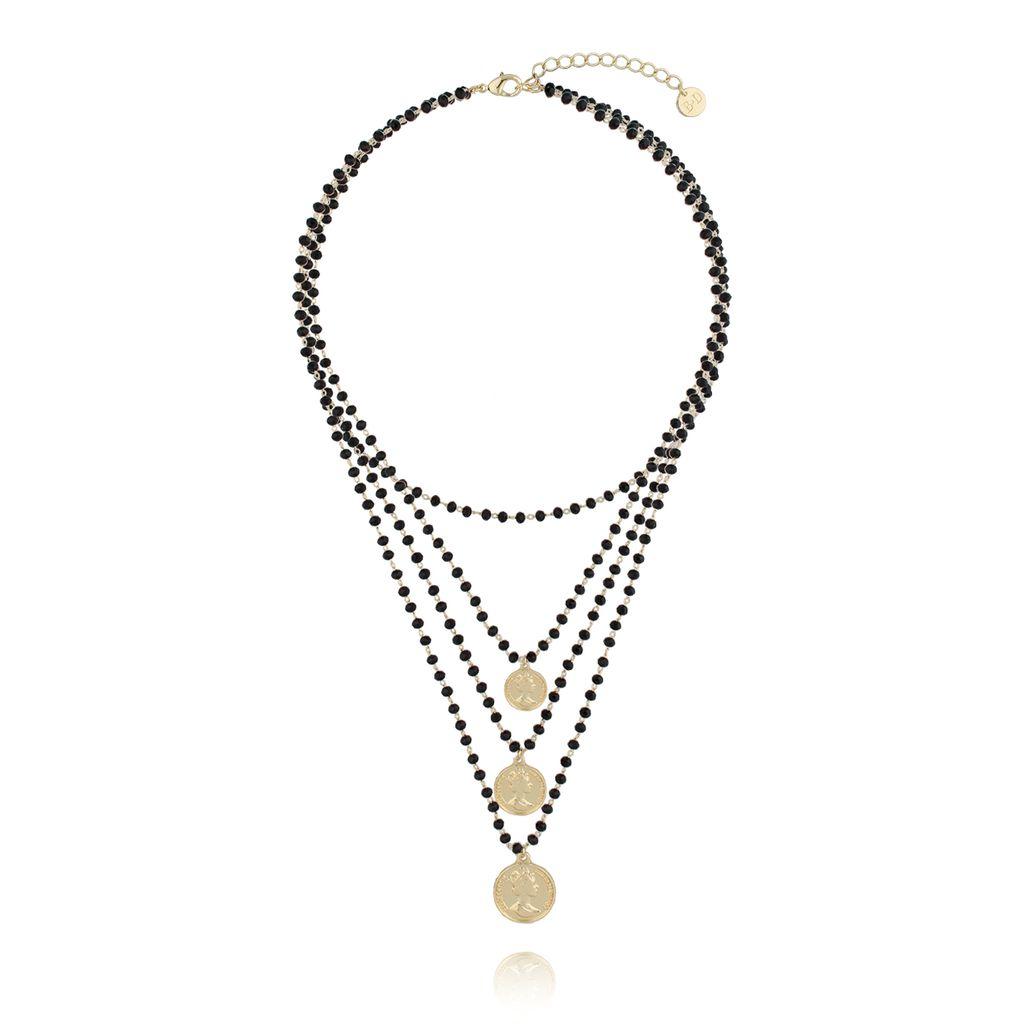 Naszyjnik  z czarnymi kryształkami i monetkami NRG0208