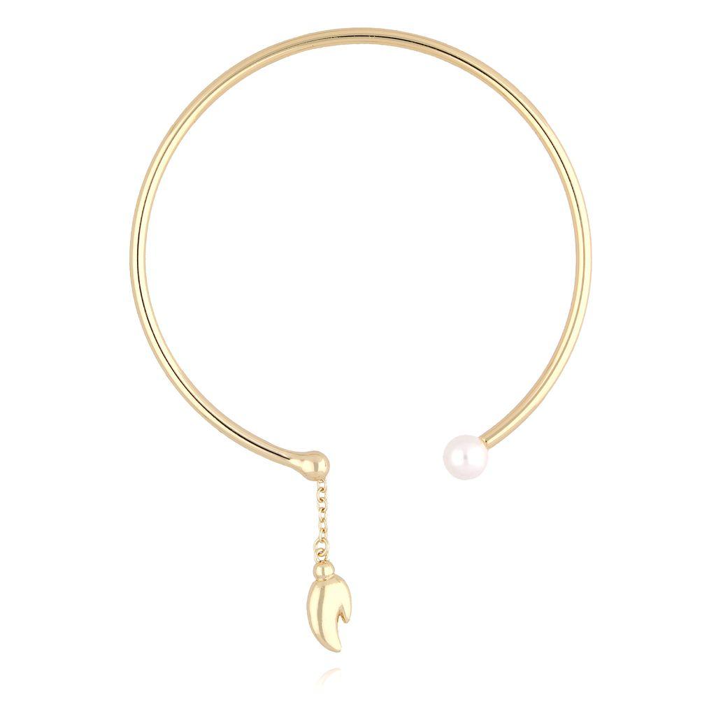 Bransoletka złota obręcz z perłą BLB0026