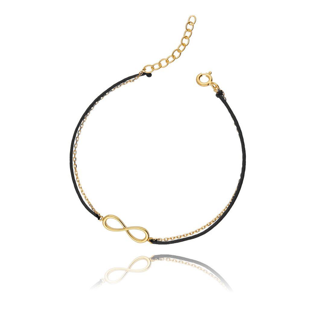 Bransoletka srebrna pozłacana na czarnym sznurku - nieskończoność BSE0040