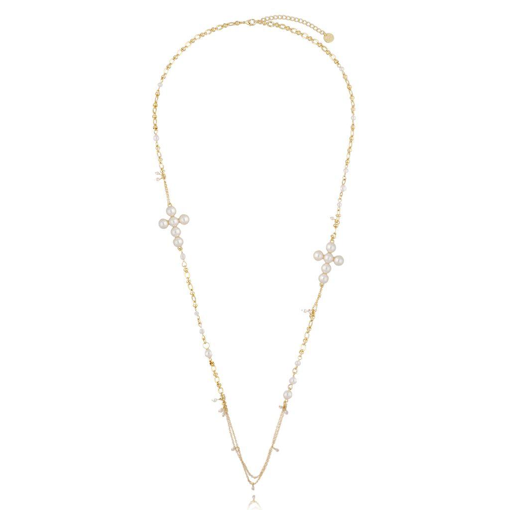 Naszyjnik z perłami i krzyżami złoty NRG0320