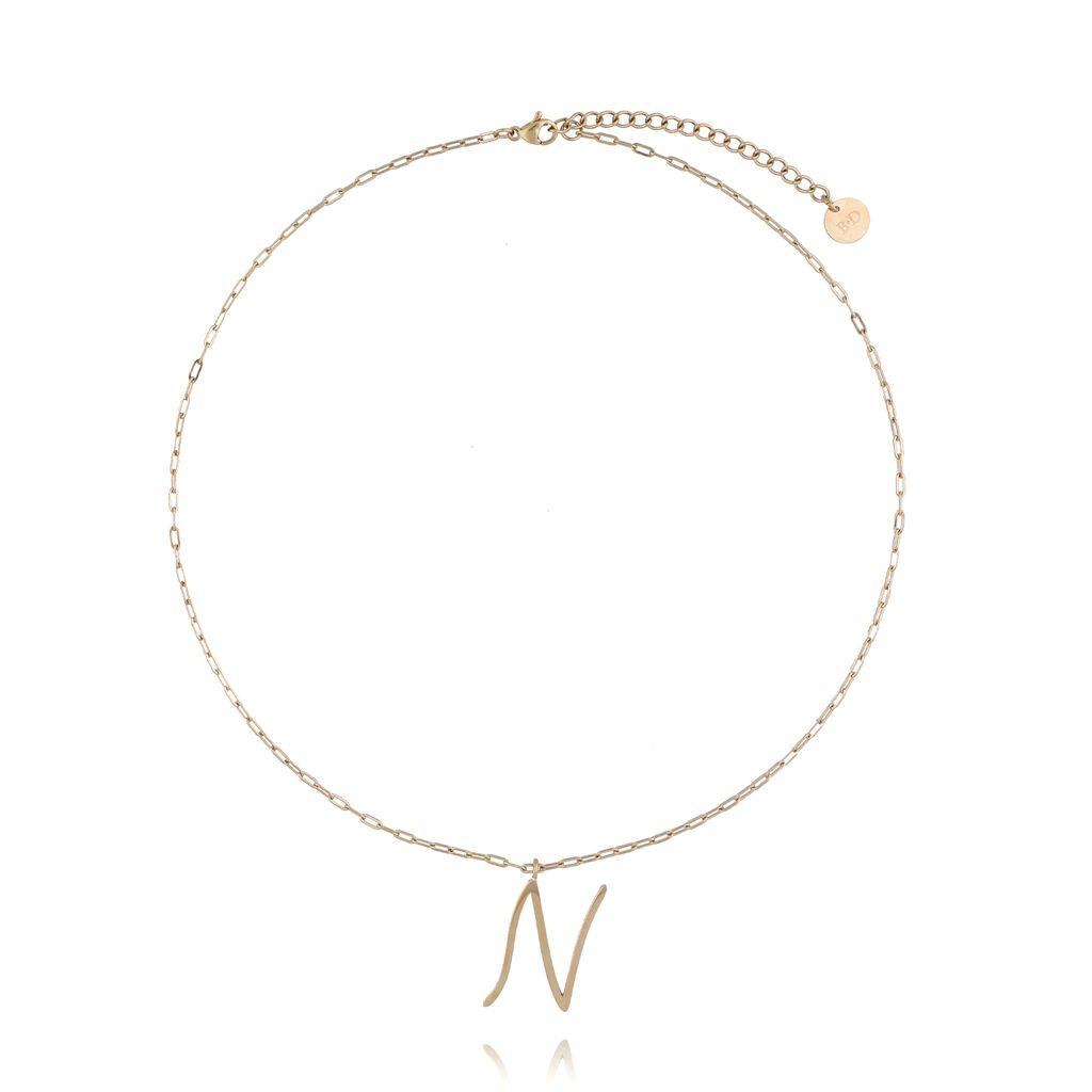 Naszyjnik ze stali szlachetnej złoty literka N mała NAT0166