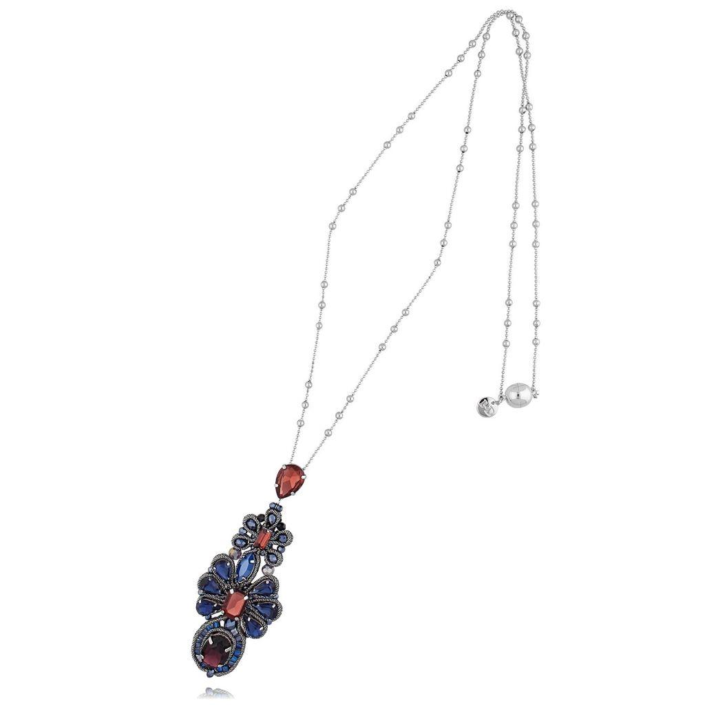 Naszyjnik srebrny z granatowymi i burgundowymi kryształkami  NMS0575