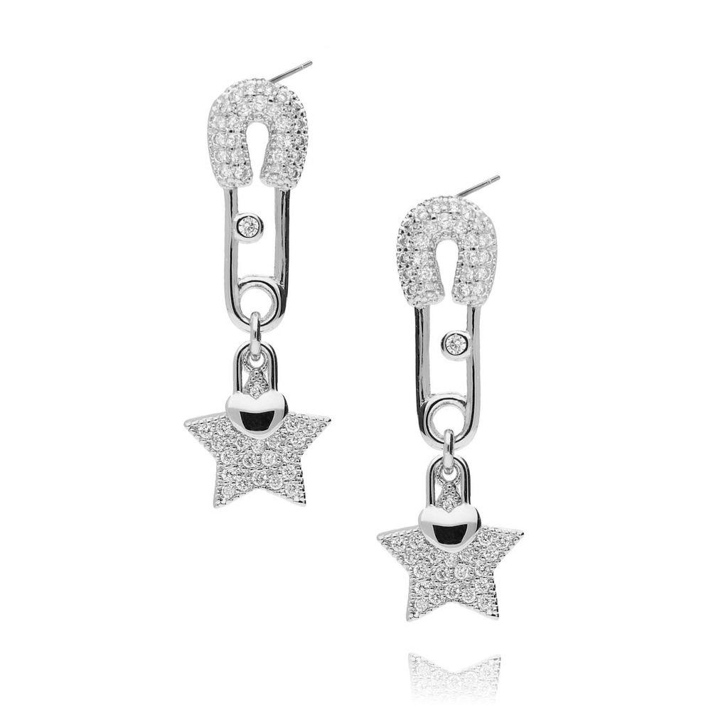 Kolczyki srebrne gwiazdki z cyrkoniami KRG0449