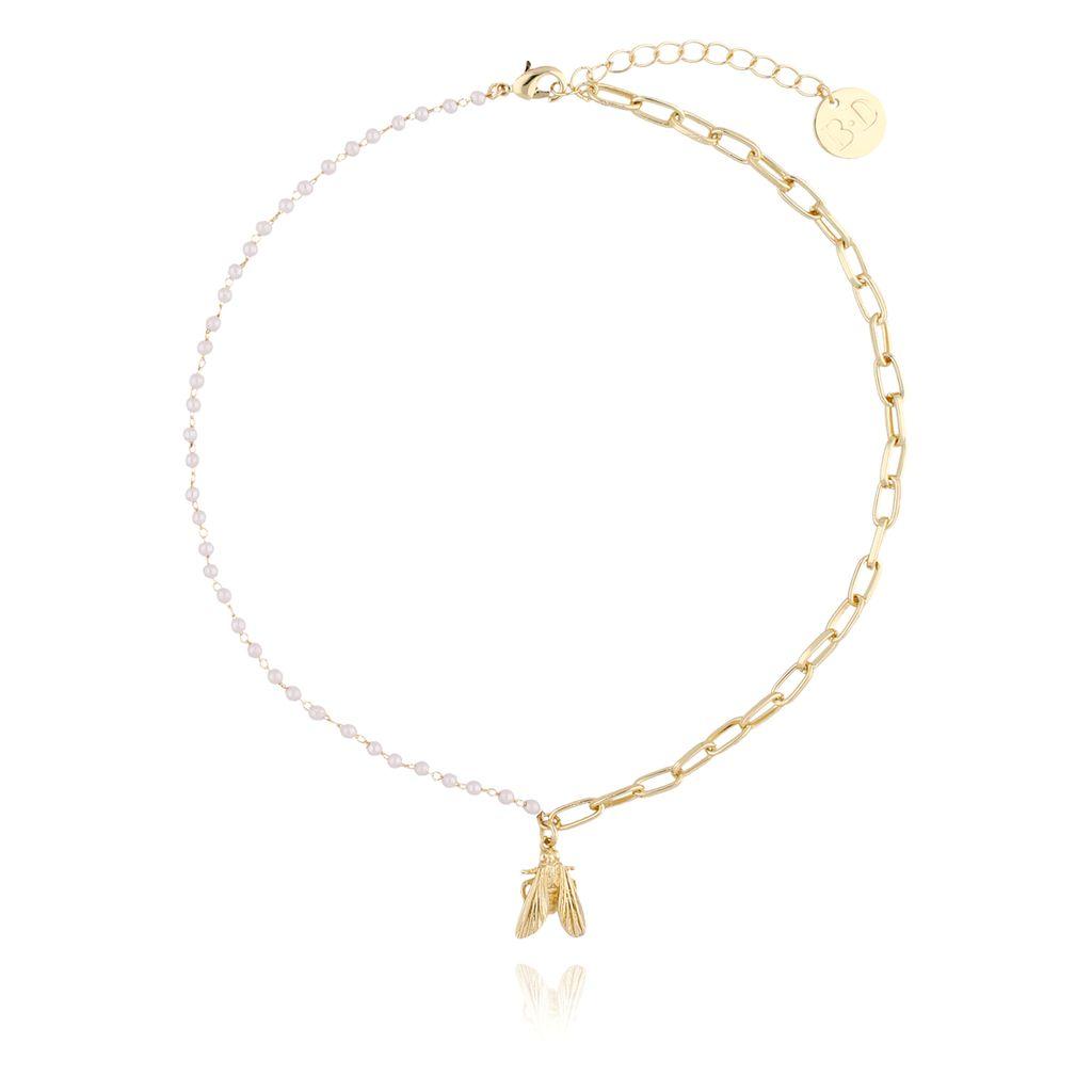 Naszyjnik złoty z łańcuszkiem, perełkami i muchą NMI0030