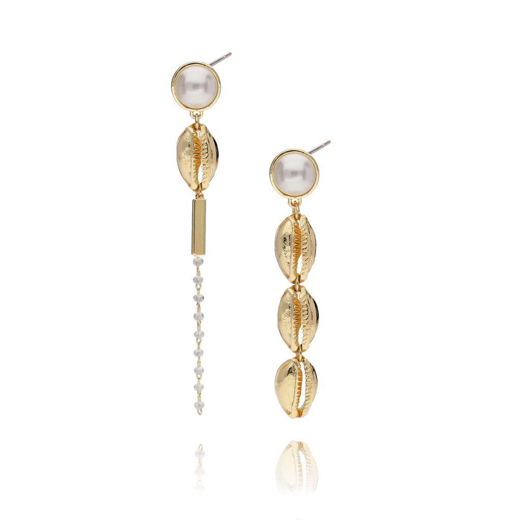 Kolczyki złote z muszlami i perłą KOV0030