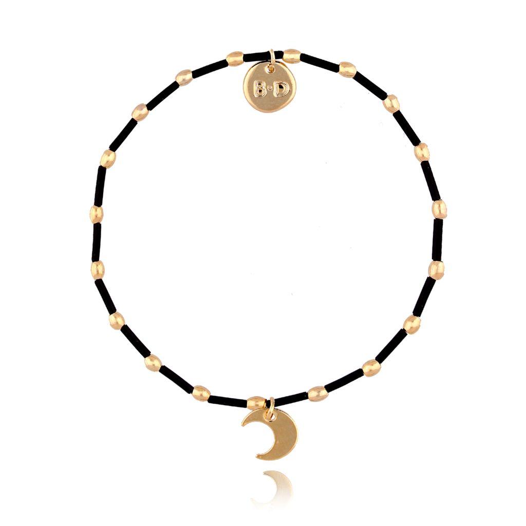 Bransoletka z czarnymi patyczkami i księżycem  BTW0196