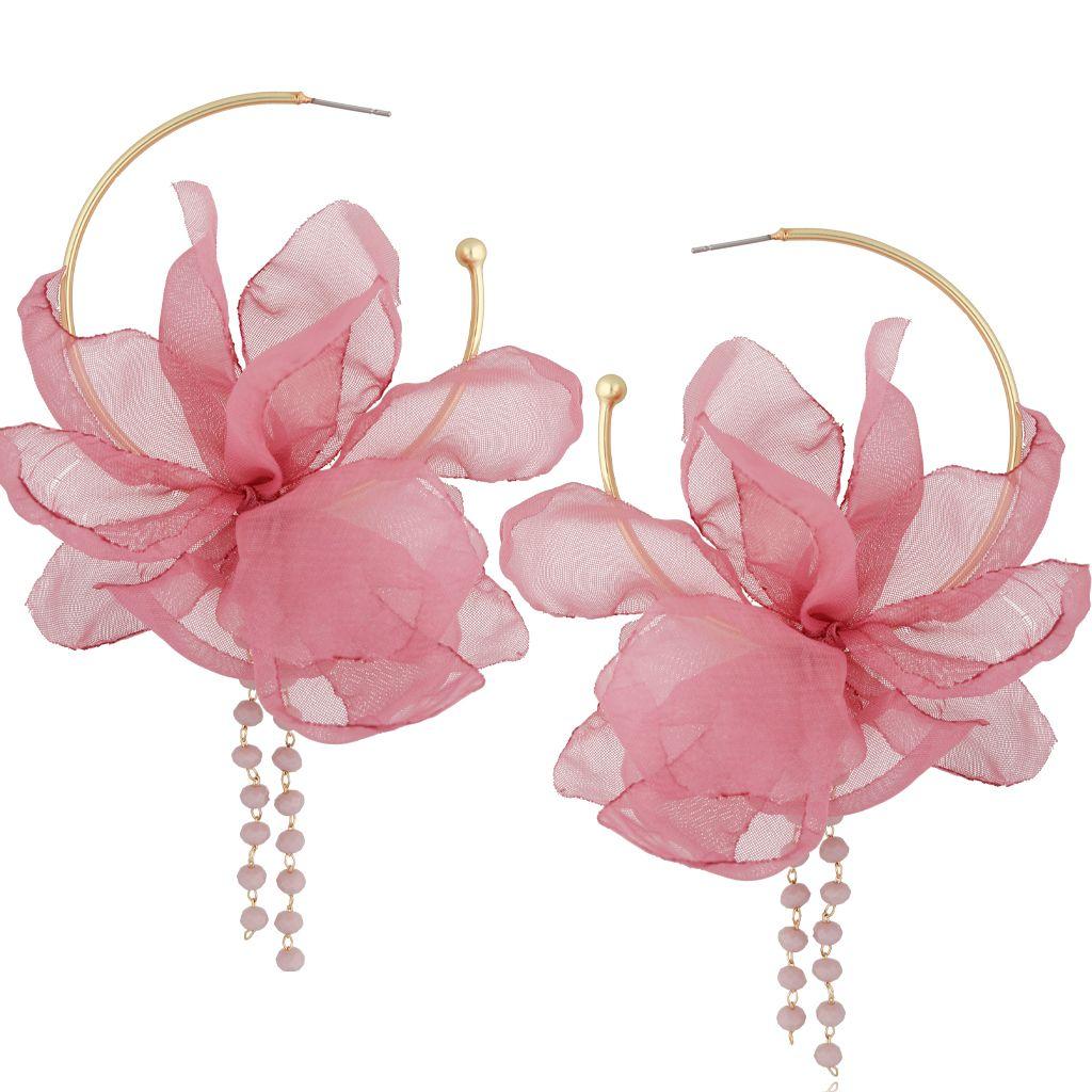 Kolczyki jedwabne kwiaty różowe KBL0823