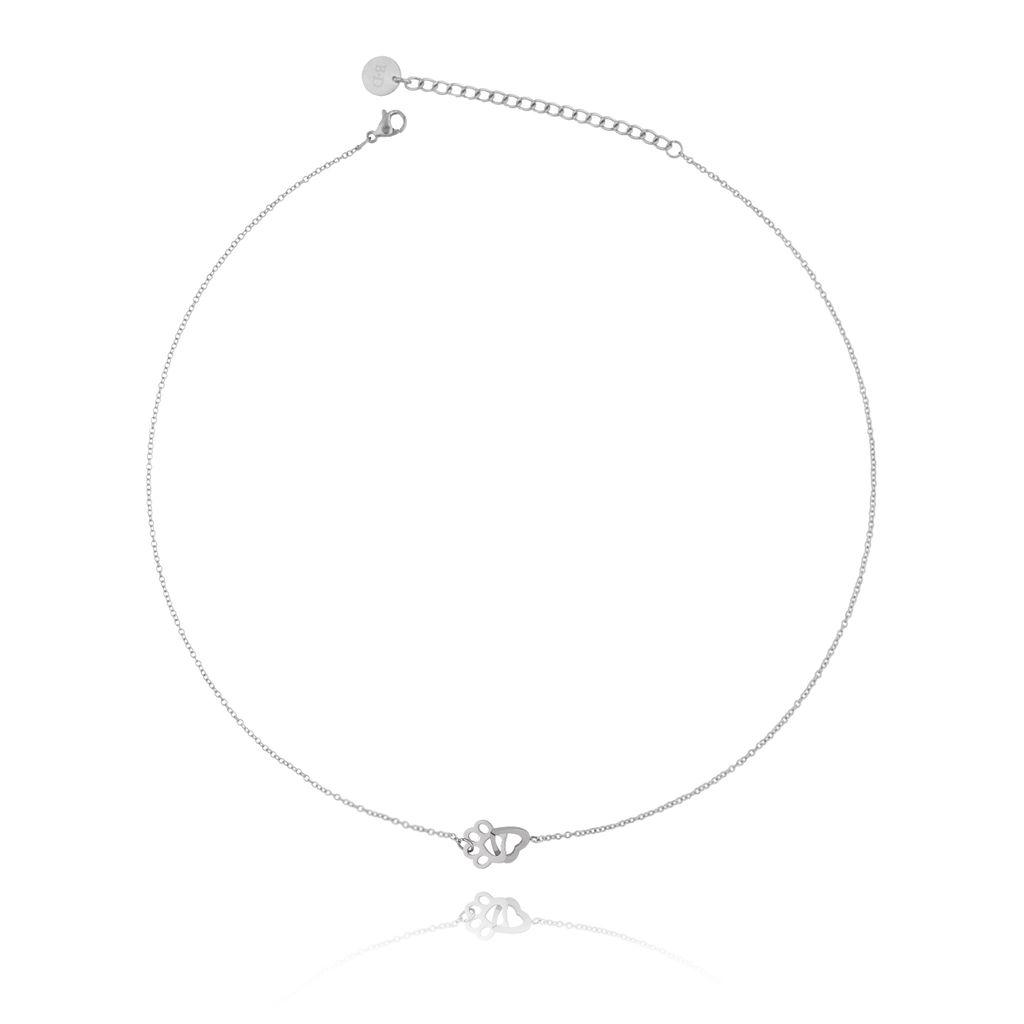 Naszyjnik srebrny z łapką i sercem ze stali szlachetnej NPS0003