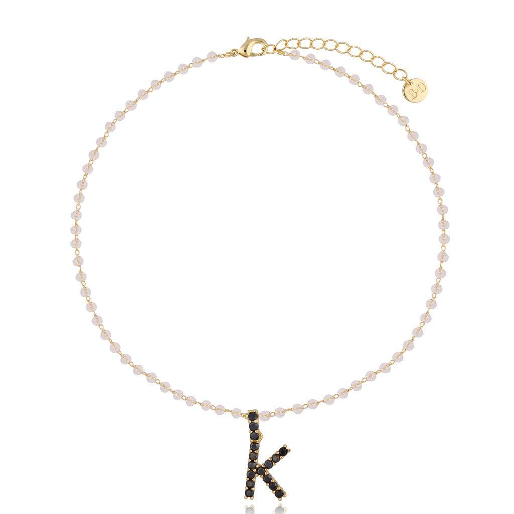 Naszyjnik kryształowy łańcuszek z literą K NRG0222