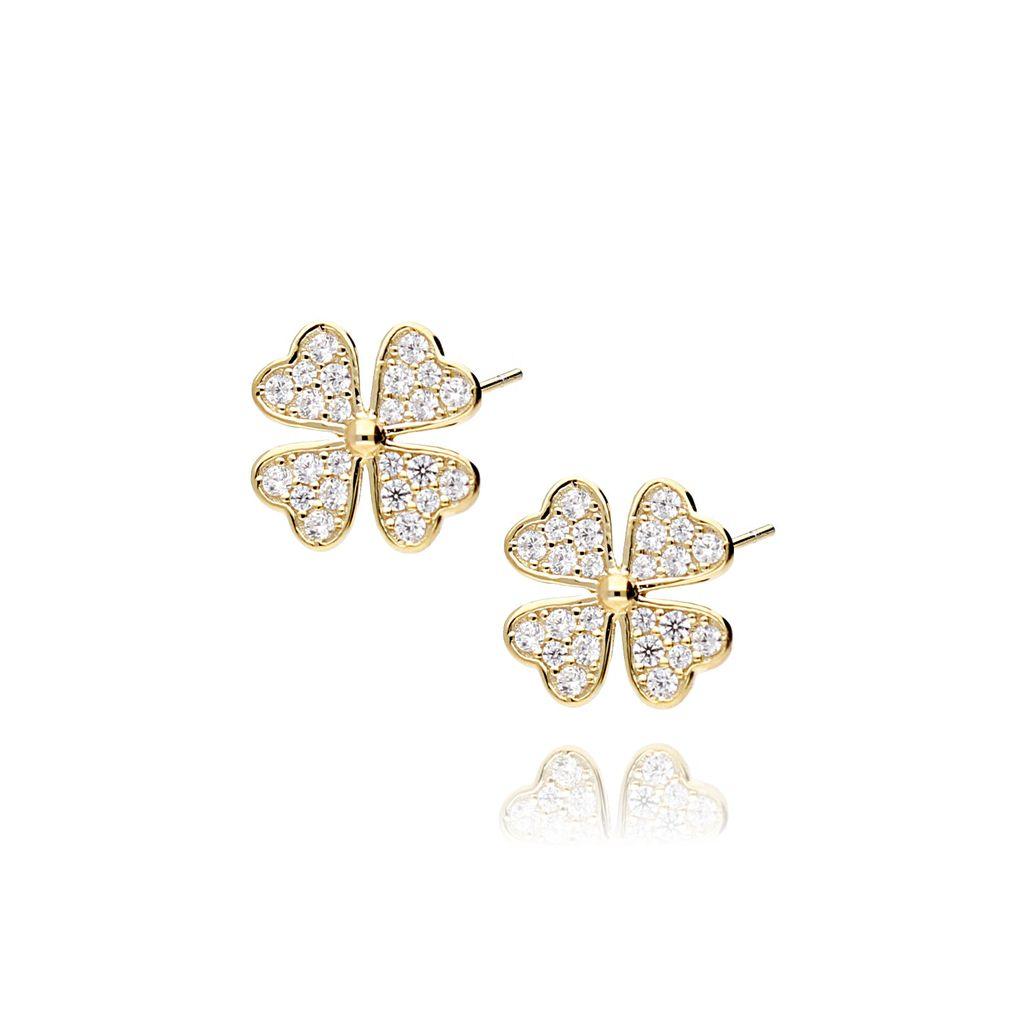 Kolczyki srebrne pozłacane kwiatki z cyrkoniami KGM0012
