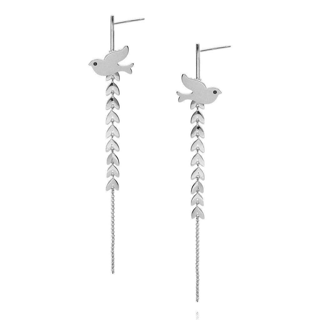 Kolczyki srebrne długie liście z gołębiem KNE0001