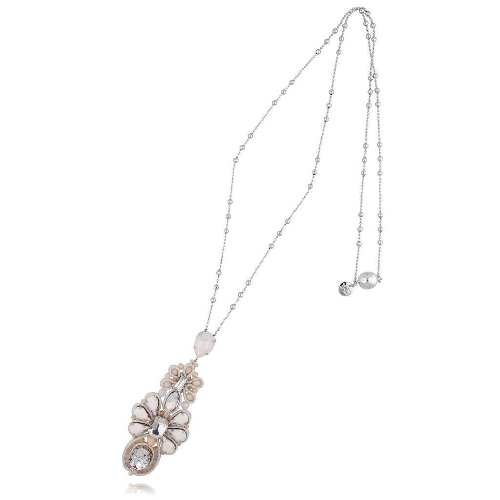 Naszyjnik srebrny z beżowymi kryształkami NMS0573