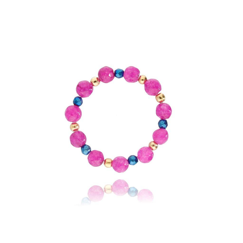 Pierścionek elastyczny z kamieniami różowy PSC0114