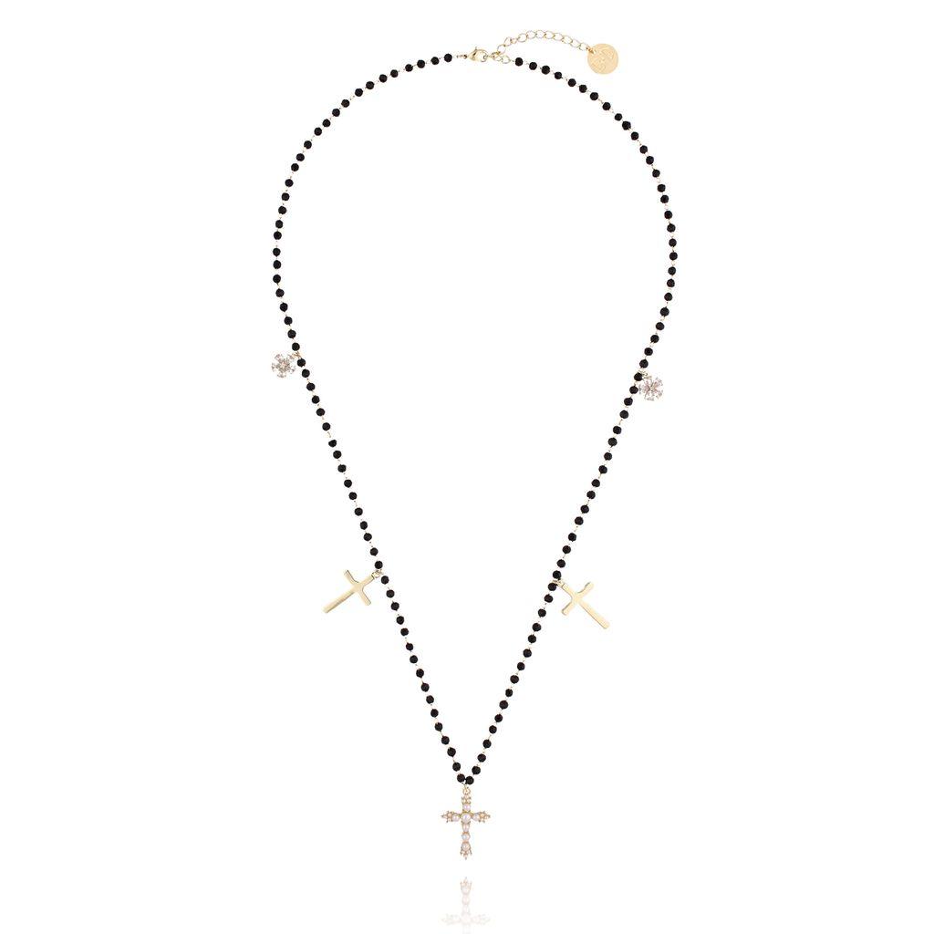 Naszyjnik z krzyżykami i czarnymi kryształkami NRG0131