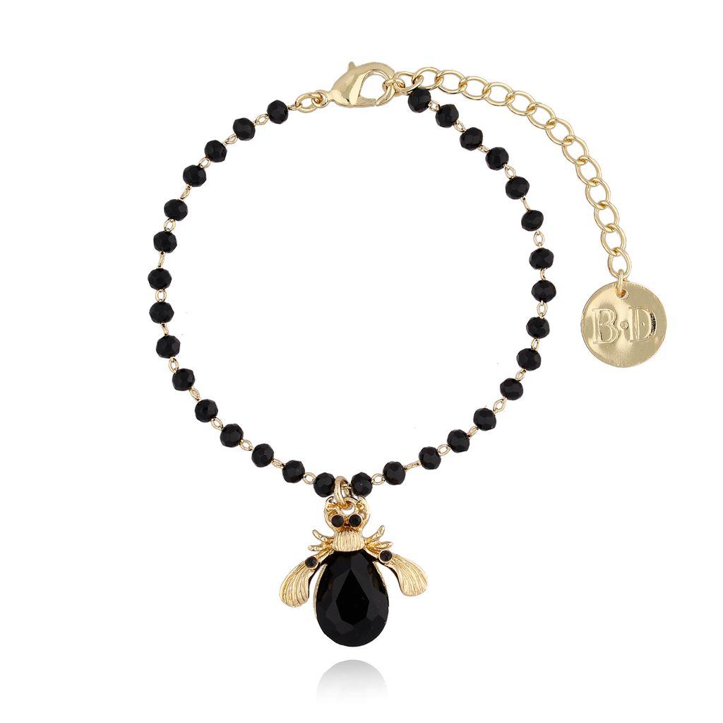 Bransoletka czarny żuk z kryształkami BMI0027