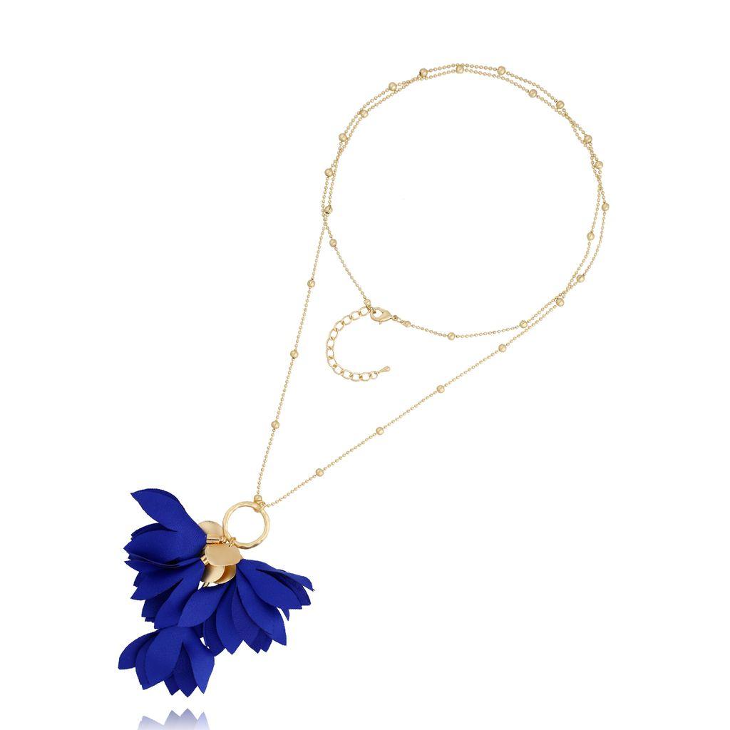 Naszyjnik złoty z kwiatem granatowy NBL0024