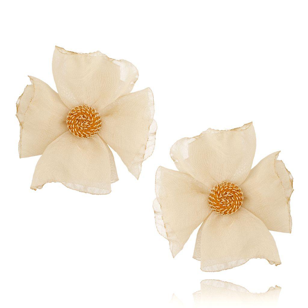 Kolczyki jedwabne kwiaty jasny beż KBL0599