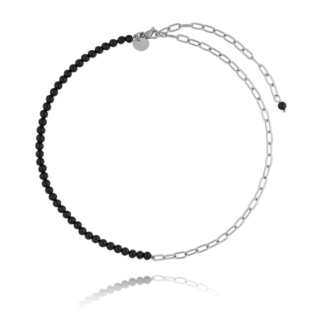 Naszyjnik srebrny z onyksami i i łańcuchem NSC0099