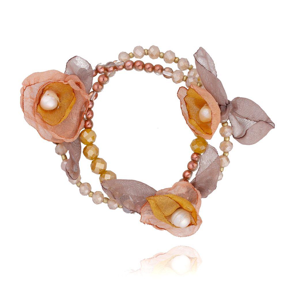 Bransoletka z kryształkami i  szaro żółtymi kwiatami  BBL0146