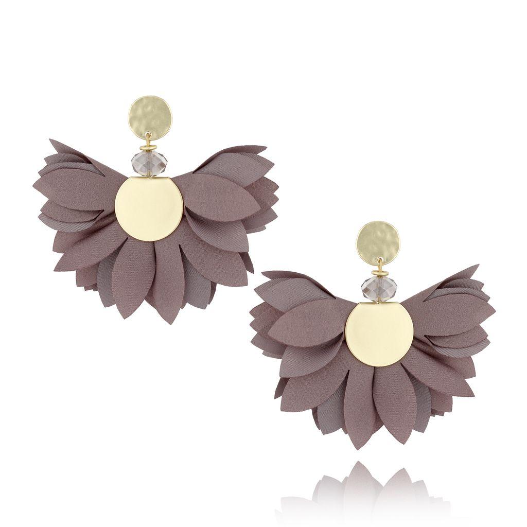 Kolczyki satynowe kwiaty  Blossom  szare KBL0314