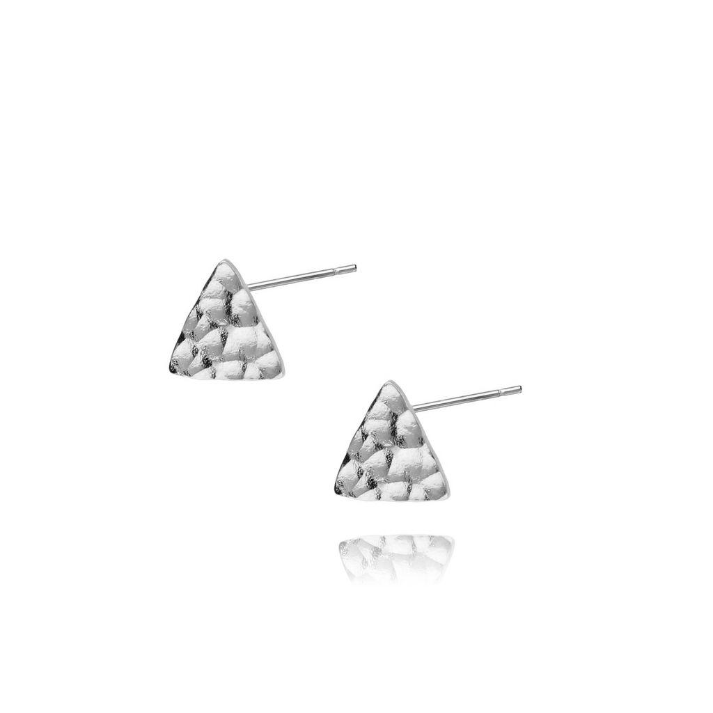 Kolczyki srebrne trójkąty młotkowane ze stali szlachetnej KSA0036