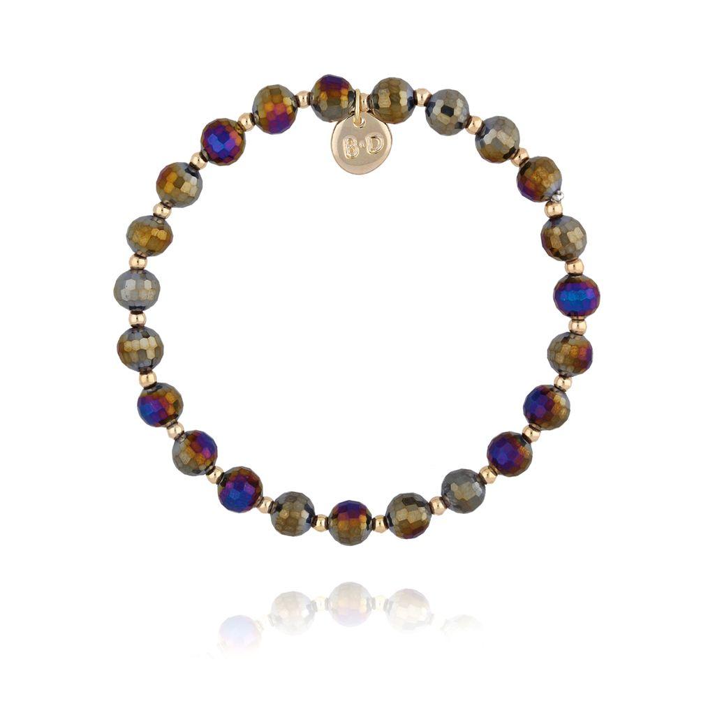 Bransoletka z fioletowo granatowymi kryształkami BBL0173