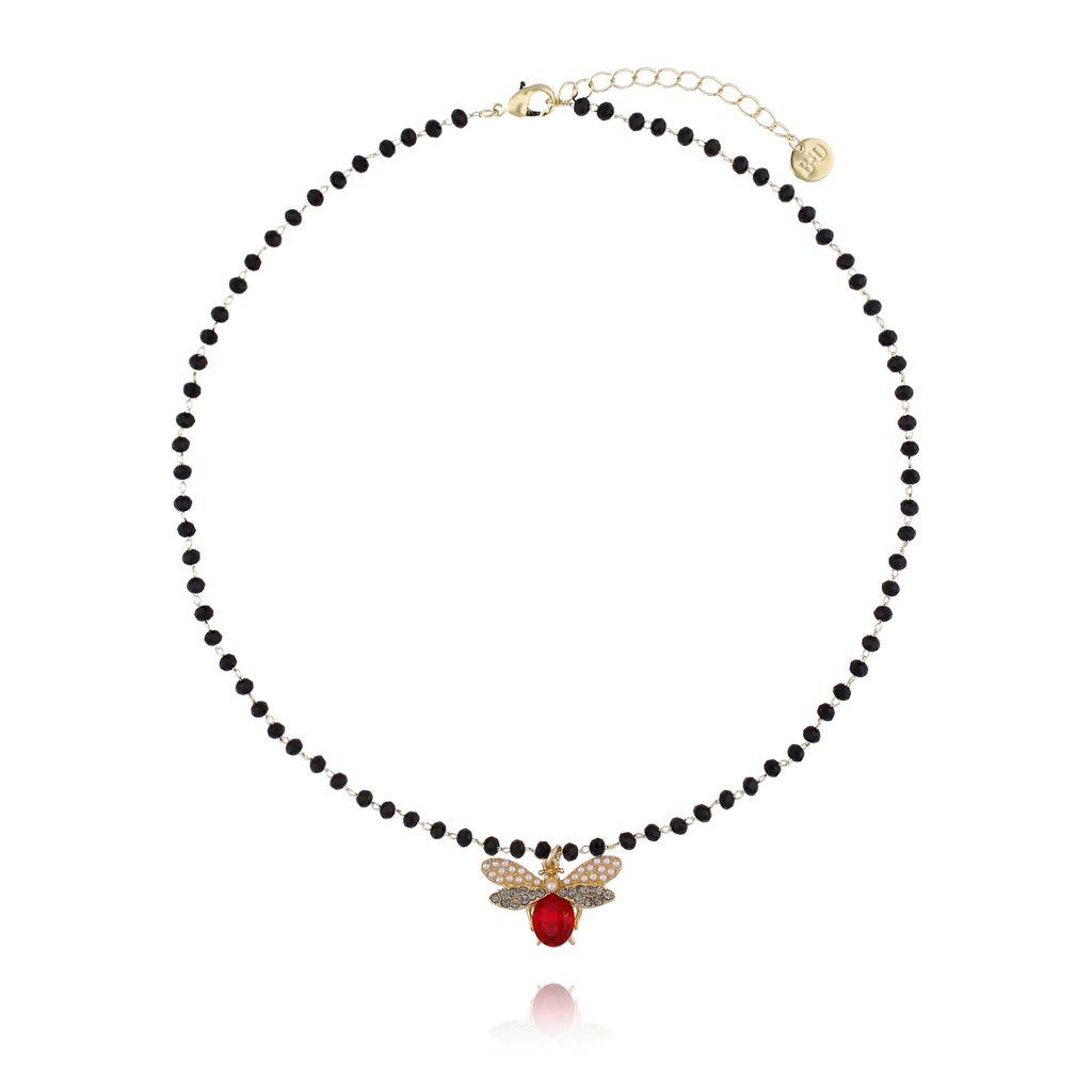 Naszyjnik czerwony owad z kryształkami  NMI0038