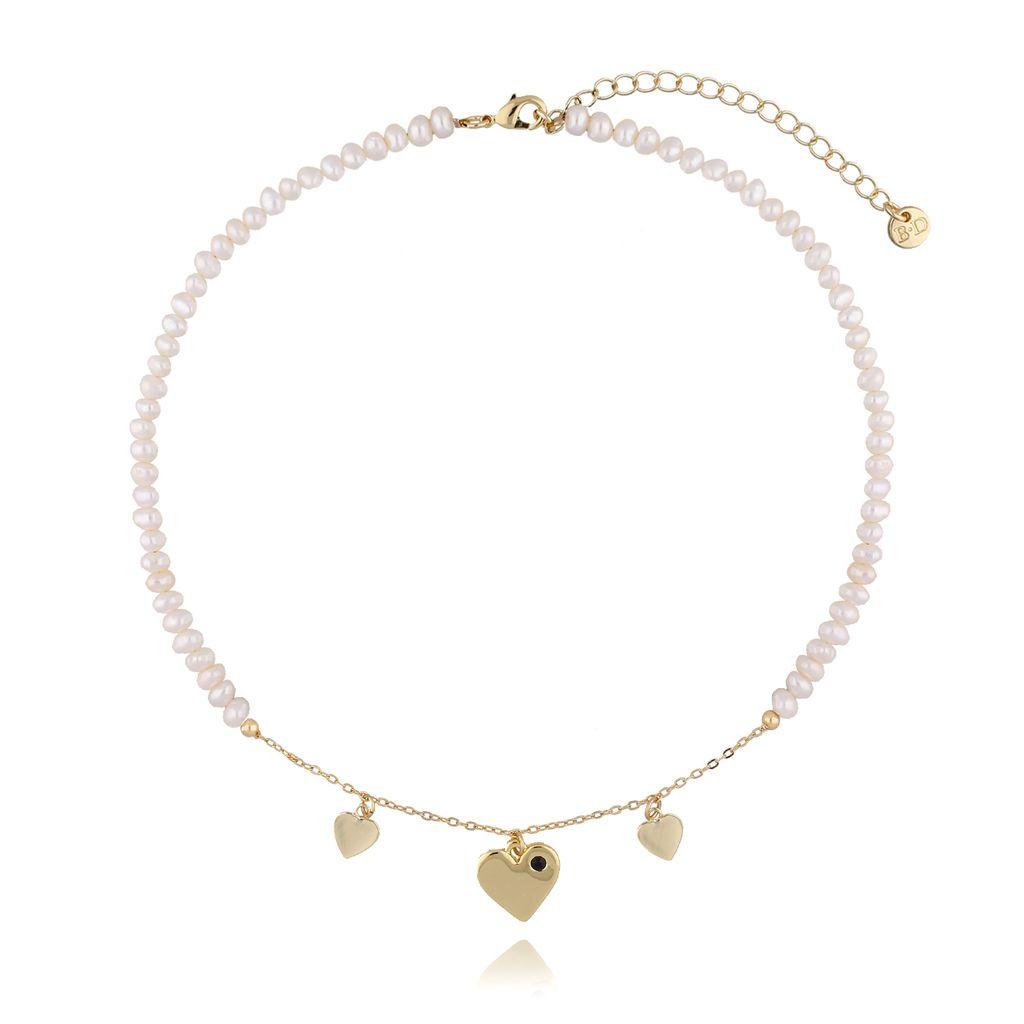Naszyjnik z perłami i sercami NLB0019