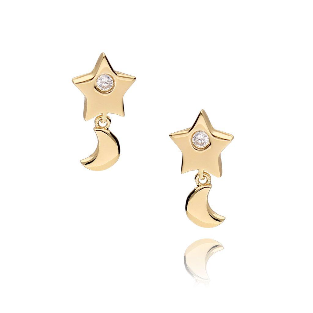 Kolczyki gwiazdki złote z cyrkoniami KFA0003