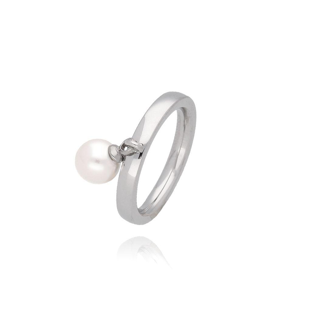 Pierścionek srebrny z perłą ze stali szlachetnej PSA0026 Rozmiar 12