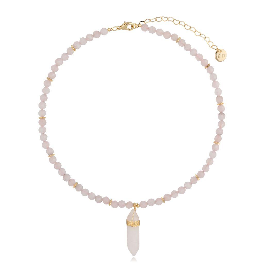 Naszyjnik z kwarcem różowym NPA0179