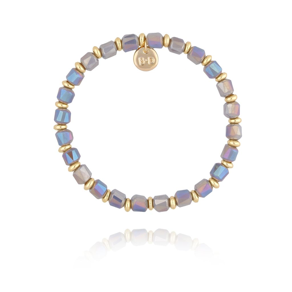 Bransoletka z szaro gołębimi kryształkami BBL0156
