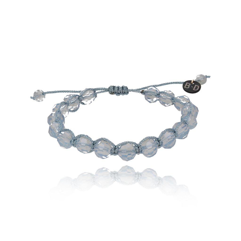 Bransoletka pleciona z błękitnymi kryształkami BBL0071